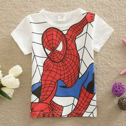 T-shirt Enfant Araignée Pas Cher-2017 vêtements pour enfants vêtements pour enfants d'été Mode Spider-man Cartoon Cotton Enfants T-Shirts Slim Fit Tops Livraison gratuite Baby Tops en gros