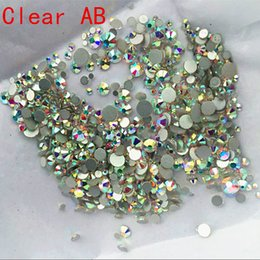 Ss16 Strass Plat Pas Cher-Super Shiny 1000pc / Pack Mix Taille (ss3 ss4 ss5 ss6 ss8 ss10 ss12 ss16 SS20) Non Hotfix Crystal Clear AB pour nail art Flatback strass