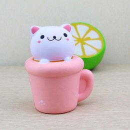 Kitty cupcaKes online shopping - Squishy Cat Toy Jumbo Slow Rising Cupcake Cat Kawaii Kitty Soft Cute Toy Gift Slow rebound new simulation PU model cup cat