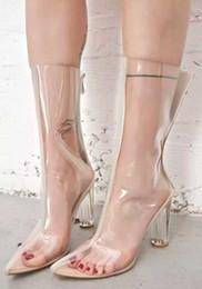 $enCountryForm.capitalKeyWord NZ - Celebrity Perspex Transparent PVC Women Boots Plastic Clear Kim Kardashian Style Boots Point Toe Block Heels Clear High Heel shoes