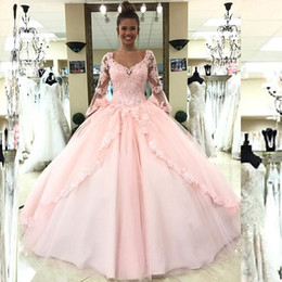 Barato Colher Doce Vestido 16-2017 New Blush Pink Quinceanera Vestidos Sweet 16 Dresses Scoop Neck Lace Appliques Illusion Sleeves Abrir Voltar Lace-up Voltar Custom Made