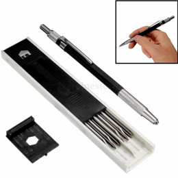 stationery stores Canada - Back to School 2mm Plastic Metal 2B Lead Holder Mechanical Draft Pencil Drawing Sketching 14.8cm Black Leads Stationery Store