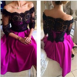 Barato Desgaste Formal Do Comprimento Do Chá-Black Lace Tea Length Prom vestidos com 3/4 de luva 2015 árabe fora do ombro Cheap Party Evening Vestidos fúcsia cetim Formal Ocasião Wear