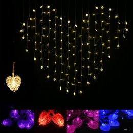 red heart decorations Canada - Holiday wedding heart shaped decoration lamp led curtain lights 110v 220v warm white red purple 1.5m*2m