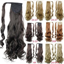 Discount hair tress - Wholesale- Synthetic Claw Drawstring Ponytail 21inch 145g Long Wave Hair Extension Blond Pony Horse Tail Fake Hair Pad T