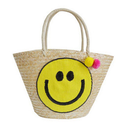 Beauty Tote Bag Canada - Wholesale-Korea Designer Smile Smiling Beauty Straw Bucket Bag 2016 Korean New Woven Straw Tote with Hairball Summer Causal Vocation Bag