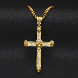 $enCountryForm.capitalKeyWord Canada - Personality Men Hiphop Necklace Fashion Jewelry Crystal Skull Cross Pendants Necklaces Chokers Gothic Punk Party Gifts for Men NL-394