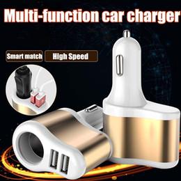 car power port splitter 2019 - Car Charger 2 Plug Colorful 2A Multifunctional USB Port Cigarette Lighter Scokets Power Adapter Universal Splitter for I