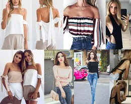 Gilet À La Mode Pas Cher-DHL 2017 New Fashion Tops So Sexy T-shirts Femme Camisoles Flat Shoulders Tops Vest, Broderie Ruffle Bow, Hollow Out Vest Camisoles, Tops