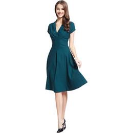 cd370dbf599 Livraison gratuiteWomen Vintage Style rétro des années 1940 Shirtwaist robe  de soirée évasée Swing Skaters robe de bal robe de cocktail 3280