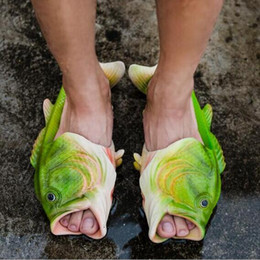 ff687093652 2017 Creative fish slippers handmade Women s men s bass sandals EVR  Non-slip beach shoes Personality fish sandals