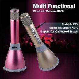 Mode Mini Karaoke Player K068 Mikrofon Bluetooth Wireless Mit Mikrofon Lautsprecher Kondensator KTV Sing für Android IOS Telefon Computer