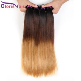 Discount cheap straight blonde hair extensions - Blonde Ombre Malaysian Virgin Hair Straight Bundles Three Tone 1b 4 27 Ombre Extensions Cheap Dark Roots Blonde Straight