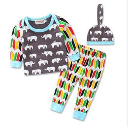 kids elephant top 2019 - New Spring Autumn Ins Infant Baby Set Kids Elephants Printed Cotton Tops Tshirt + Pants + Hat Girl Babies 3pcs Clothing