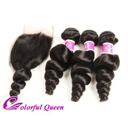 Peruvian Human Hair Loose Curl NZ - Colorful Queen Peruvian Loose Wave with Closure 100 Unprocessed Loose Curls Peruvian Human Hair 3 Bundles Loose Wave with Closure