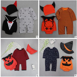Barato Macacão Menina Menino-Halloween Baby Clothes Devil Vampire Pumpkin Hat Romper Vest 3pcs define Newborn Boy Jumpsuits Toddler Girls Boys Overalls Infant Baby Clothes