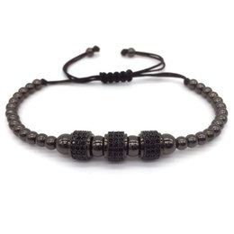 China Fashion Luxury Gold Plated 3 Round Beads Macrame high quality Bracelet Micro inlay zircon Mens & Womens New Style Accessories suppliers