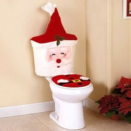 Wholesale Case For Tissue Box Canada - Wholesale-New 2Pcs Set Christmas Santa Claus Toilet Seat Cover And Paper Tissue Box Case Holder For Home Bathroom Decoration