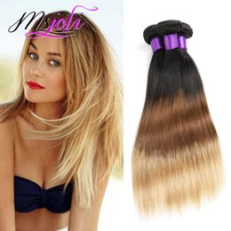 ombre hair extensions 22 inch NZ - Malaysian Virgin Hair Weave 9A Ombre Color Three Tones Straight Human Unprocessed Hair Extension Weft Three Pcs T1b-4-27