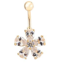 $enCountryForm.capitalKeyWord Canada - New Fashion Party Body Jewelry Yellow Gold Plated Clear Cubic Zirconia CZ Flowers Piercing Bell Button Navel Rings for Women
