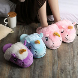 online shopping Unicorn Plush Slippers Blue Pink Purple White Kids Parents Winter Indoor Home Shoes Warm Soft Cotton Free Size