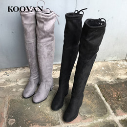 Stretch Over Knee Boot Canada - Over Knee Boots High Heel Boots 2017 Koovan Hot Sale Autumn Winter 6 cm Chunky heel Women Shoes Stretch Shoes High Quality W169