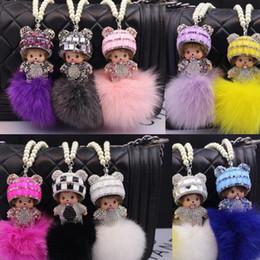 Niedlichen Monchichi Keychain Handmade Crystal Kiki Anhänger Rex Kaninchen Perle Kette für Tasche Auto hängende Monchhichi Anhänger Charm Handy