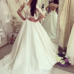 $enCountryForm.capitalKeyWord Australia - Elegant Sheer Long Sleeves Lace Wedding Dresses 2017 A Line Chiffon Sexy Open Back Long Backless Bridal Gowns Summer Beach Wedding Gowns