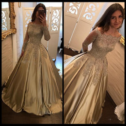 Wholesale Formal Evening Party Pageant Gowns Long Sleeve Prom Dress Dubai k17 Gold Lace Evening Dresses Cheap Vintage