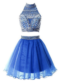 China 2018 Two Pieces Homecoming Dresses High Neck Backless Beaded Rhinestones Crystals Cocktail Dresses Short Prom Dresses GownsCustom Made suppliers