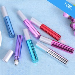 Discount roll steel ball - 10ml Colorful Glass Roll on Essential Oil Empty Perfume Bottle Stainless Steel Roller Ball Fast Shipping- Set of 7 Color