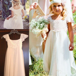 $enCountryForm.capitalKeyWord NZ - Boho Beach Cap Sleeves Flower Girl Dresses 2016 White Ivory Lace Chiffon Girls Kids Formal Dresses for Wedding with Sash First Communion