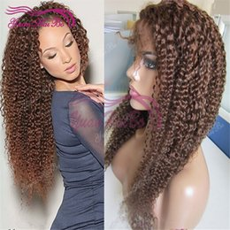 Medium Brown Curly Wig Canada - Best quality 4 medium brown virgin malaysian hair 130 density kinky curl lace front wig Free Shipping