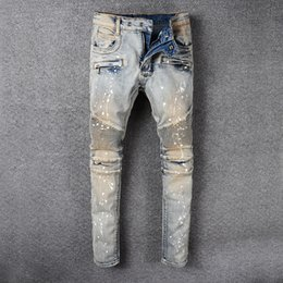 $enCountryForm.capitalKeyWord Canada - HI-Q New World Famous Designer Brand Street Vogue Popular Paint Splatter Motor Biker Jeans Classic Cowboy Washed Denim Pants Casual Trousers
