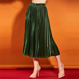 Barato Balanço Verde Da Mulher-Boho Women Girls A-Line saias plissadas vintage Rockabilly Mid-Calf Green Long Swing Party saia Summer Beach Flared Midi saias casuais