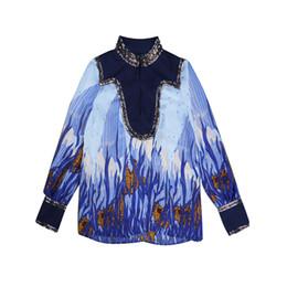 38c409ae4f8f 2017 blu collo colletto maniche lunghe delle donne camicette moda che borda  paillettes stampa camicie magliette di marca delle donne N013