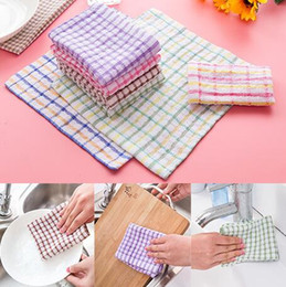 wholesale cotton rags NZ - 3 colors fashion plaid style cotton blends washing dish hand towel magic small cleaning cloths kitchen wipes rag scouring pads 24x24cm