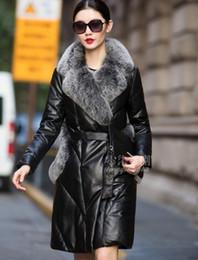 $enCountryForm.capitalKeyWord Canada - New Women's winter luxury natural fox fur collar genuine sheepskin leather fur pocket white duck down sashes long parka coat plus size 5XL