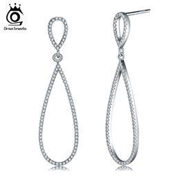 rhodium plated cz 2019 - Luxury Water Drop Shape 925 Sterling Silver Earrings Stud Solid Silver Earrings With 172pcs AAA Austrian CZ SE35 discoun