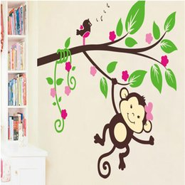 cartoon stick wall Canada - Cartoon Monkey Tree Branches Birds Music Note Wall Decals Home Decor Kids Room Nursery Decoration Wall Mural Poster Decorative Graphic