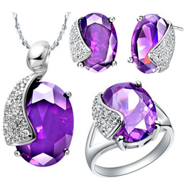 $enCountryForm.capitalKeyWord Canada - NEW white gold set of purple crystal set 925 Sterling Silver suit made in Europe and the United States high-end jewelry set