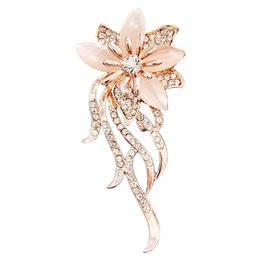 china flower brooches UK - High Quality Fashion Opal Stone Flower Brooch Pin Women Garment Accessories Jewelry Gold Plated Brooch Rhinestone Pin