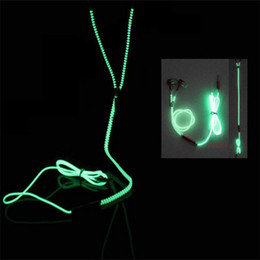 glow dark headphones UK - Headphones Wired Earphones Luminous Glow Light Metal Zipper Earphone Glow In The Dark Mobile Phone Headset With Mic For iPhone Samsung LG