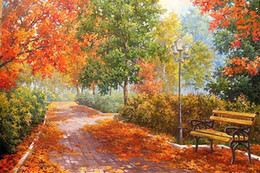 landscape blocks UK - 5D DIY Autumn Forest Road Landscape Full of Diamond Painting Cross Stitch Kits Over drilling Home Decoration