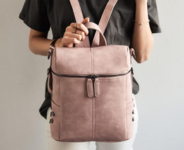 Simple Style Backpack Women PU Leather Backpacks For Teenage Girls School  Bags Fashion Vintage Solid Shoulder Bag Pink c374de72e5426