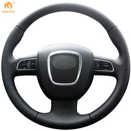 Discount audi a6 c6 - Mewant Black Genuine Leather Car Steering Wheel Cover for Audi A3 (8P) 2008-2013 A4 (B8) 2008-2010 A5 2008-2010 A6 (C6)