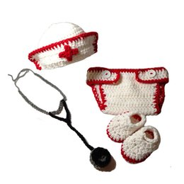 halloween baby diapers UK - Newborn Knit Nurse Outfit,Handmade Crochet Baby Boy Girl Nurse Hat Diaper Cover Booties Stethoscope Set,Infant Halloween Costume Photo Prop