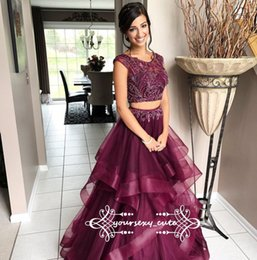 Barato Vestido De Tule De Beading-Two Piece Borgonha Red Prom Dresses Scoop Neck Cap Manga Beading Tulle Ball Gown Prom Dresses Sweet 16 Gowns