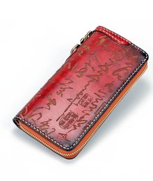 $enCountryForm.capitalKeyWord Canada - Genuine Leather Chinese Characters Wallets Carving Calligraphy Bag Purses Women Men Long Clutch Vegetable Tanned Leather Wallet Q0398
