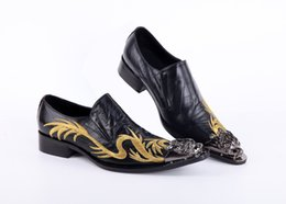 Formal Man Leather Shoes Flat Canada - 2017 Fashion handmade Metal Tip formal mens dress shoes genuine leather black luxury wedding shoes men flats office for male